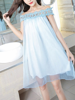 Blue Loose A-Line Cutout Laced Off-Shoulder Above Knee Dress for Casual Party Evening