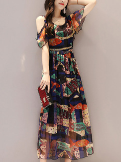 Colorful Slim Printed Chiffon A-Line Collect Waist Round Neck Off-Shoulder See-Through Dress for Casual Party