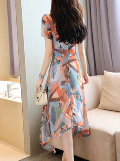 Colorful Plus Size Chiffon Slim Printed A-Line Asymmetrical Hem Collect Waist Round Neck Dress for Casual Party