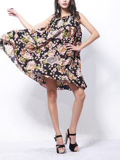 Colorful Plus Size Loose Printed A-Line Chiffon Band Belt Round Neck Floral Above Knee Dress for Casual Party