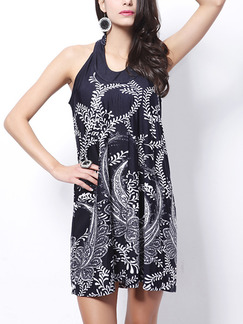 Blue Loose Printed Hang Neck Round Neck Above Knee Shift Halter Dress for Casual Party