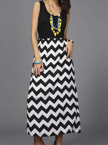 Black and White Slim A-Line Linking Round Neck Wave Pattern Dress for Casual