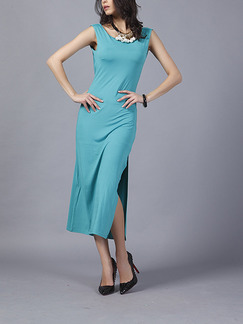 Blue Green Slim Round Neck Furcal Open Back Over-Hip Dress for Cocktail Party Evening