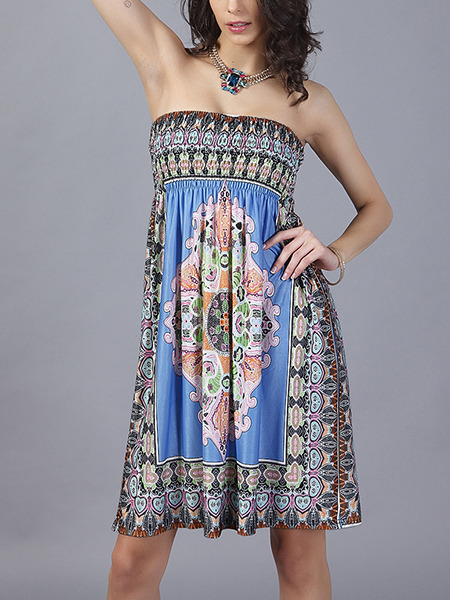 Colorful Plus Size Loose Strapless Located Printing Open Back Above Knee Dress for Casual