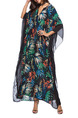 Black Colorful Plus Size Loose Printed V Neck Bat Sleeve Linking Grenadine Dress for Casual