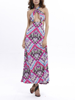 Colorful Slim A-Line Cross Hang Neck Band Belt Open Back Halter Dress for Casual Beach