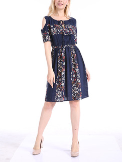 Blue Plus Size A-Line Loose Round Neck Lace Up Off-Shoulder Located Printing Above Knee Dress for Casual Party Office