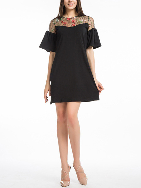 Black Slim A-Line Linking Embroidery Grenadine See-Through Flare Sleeve Above Knee Dress for Casual Party