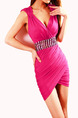 Pink Slim V Neck Over-Hip Open Back Corset Rhinestone Above Knee Dress for Cocktail Ball