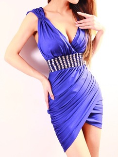 Blue Slim V Neck Over-Hip Open Back Corset Rhinestone Above Knee Dress for Cocktail Ball