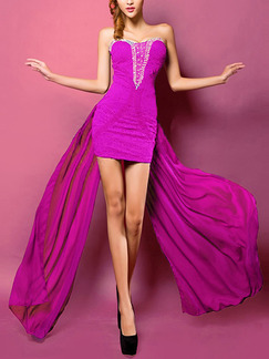 Purple Chiffon Slim Lace Strapless Over-Hip Rhinestone Above Knee Dress for Cocktail Prom Ball
