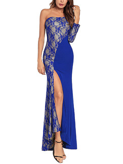 Blue Plus Size Slim Linking Lace Furcal Inclined Shoulder Dress for Cocktail Party Evening Ball