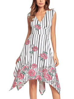 White and Red Plus Size Slim Stripe Located Printing V Neck Asyemmetrical Hem Floral Dress for Casual Party Office