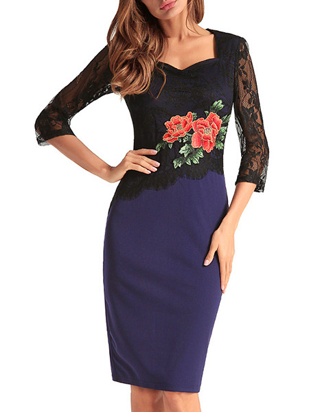 Blue and Black Plus Size Slim Linking Lace Embroidery Over-Hip Square Neck Furcal Back Floral Dress for Casual Office Evening