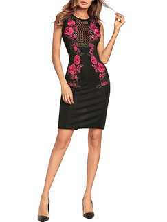 Black and Pink Plus Size Slim Embroidery Over-Hip Zipper Back Mesh See-Through Floral Dress for Cocktail Party Evening