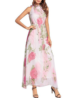 White and Pink Chiffon Plus Size Slim Printed High-Laced Neck Floral Halter Dress for Casual Party