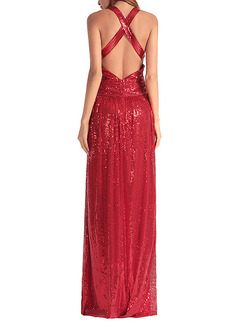 Red Plus Size Slim V Neck Sequins Cross Open Back  Dress for Cocktail Evening Prom Ball