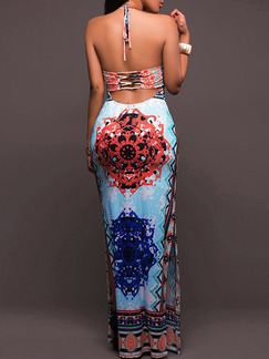 Colorful Slim Hang Neck Open Back Over-Hip Located Printing Furcal Dress for Cocktail Party Evening