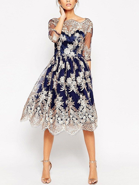 Blue and White Slim A-Line Contrast Embroidery Laced See-Through Puff Skirt Dress for Cocktail Party Evening