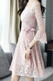 Pink Slim H-Shaped Lace Linking Square Neck See-Through Bandage Above Knee Dress for Casual Party Evening