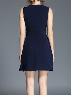 Blue Slim A-Line Linking Chiffon Square Collar Folds Above Knee Dress for Casual Party