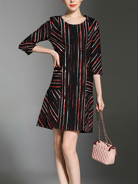 Red and Black Plus Size Slim Contrast Stripe Round Neck Pockets Shift Above Knee Dress for Casual Party Office