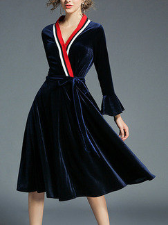 Blue Red and White Suede Plus Size Slim A-Line Cross Contrast V Neck Band Belt Flare Long Sleeve Knee Length Dress for Party Office Evening