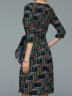 Black Chiffon Plus Size Slim A-Line Printed Round Neck Band Belt Furcal Pockets Knee Length Dress for Casual Party Office