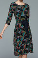 Black Chiffon Plus Size Slim A-Line Printed Round Neck Band Furcal Pockets Knee Length Dress for Casual Party Office