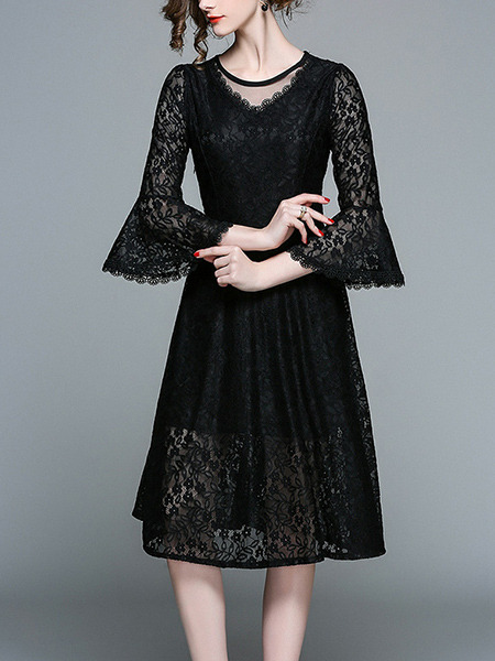 Black Plus Size Slim A-Line Lace See-Through Flare Sleeve Round Neck Knee Length Dress for Casual Party Office