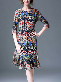 Colorful Slim Printed Round Neck Fishtail Knee Length Dress for Casual Party Office