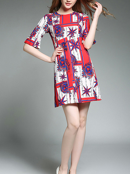 Red Blue and White Slim A-Line Printed Round Neck Flare Sleeve Above Knee Dress for Casual Party