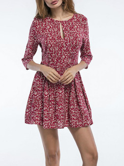Red Slim A-Line Floral Round Neck Open Hole Above Knee Dress for Casual Party