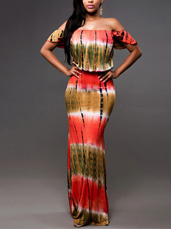 Red Brown and White Slim Printed Off-Shoulder Open Back Adjustable Waist Over-Hip Maxi Bodycon Dress for Casual Beach