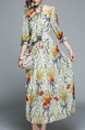 Colorful Plus Size Slim Printed A-Line Round Neck Band Butterfly Knot Maxi Dress for Casual
