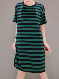 Black and Green Loose H-Shaped Contrast Stripe Round Neck Shift Knee Length Dress for Casual