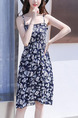 White and Blue Chiffon Slim A-Line Printed Sling Laced Adjustable Chest Open Back Sling Knee Length Floral Dress for Casual Party