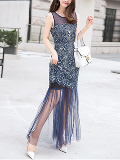 Blue Plus Size Slim Printed Fishtail Linking Lace See-Through Over-Hip Round Neck Maxi Dress for Cocktail Party Evening