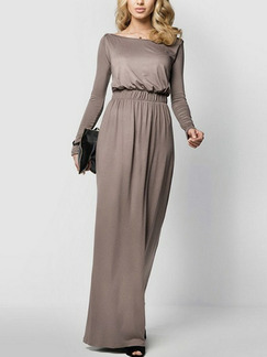 Brown Slim Boat Collar High-Waist Adjustable Waist Full Skirt Long Sleeve Dress for Evening Party Cocktail