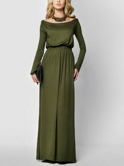 Green Slim Boat Collar High-Waist Adjustable Waist Full Skirt Long Sleeve Maxi Dress for Evening Party Cocktail