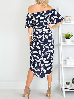 Blue and White Slim Printed Off-Shoulder Flare Sleeve Band Belt Asymmetrical Hem Midi Dress for Casual Party Beach