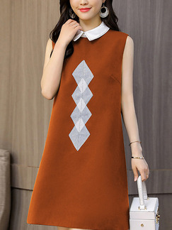 Brown and White Plus Size A-Line Lapel Located Printing Zipper Back Shift Above Knee Dress for Casual Party Office