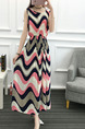 Colorful Slim Printed Round Neck Adjustable Waist Maxi Dress for Casual Party