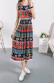 Colorful Plus Size Slim Seem-Two Printed Round Neck Linking Tassel Midi Dress for Casual Party