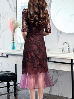 Purple and Black Plus Size A-Line Lace See-Through Boat Collar Fishtail Hem Midi Off Shoulder Dress for Party Evening Cocktail