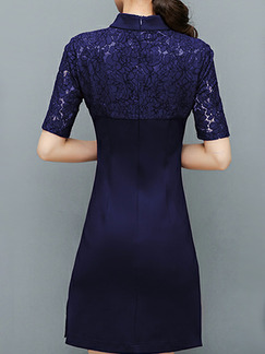 Blue and White Plus Size Slim Linking Lace Chinese Button Embroidery Over-Hip Furcal Side Sheath Above Knee Dress for Casual Office Party