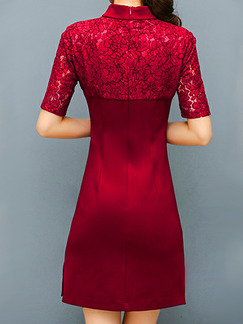 Red Plus Size Slim Linking Lace Chinese Button Embroidery Over-Hip Furcal Side Sheath Above Knee Dress for Casual Office Party