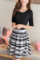 Black and White Slim A-Line Contrast Stripe Linking Round Neck Band Fit & Flare Knee Length Dress for Casual Party