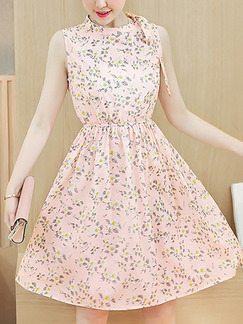 Pink and Grey Plus Size Slim A-Line Floral Round Neck Band Belt Adjustable Waist Fit & Flare Above Knee Dress for Casual Party