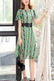 Green Chiffon Slim A-Line Printed Round Neck Ruffle Sleeve Double Layer Linking Lace Butterfly Knot Knee Length Dress for Casual Party
